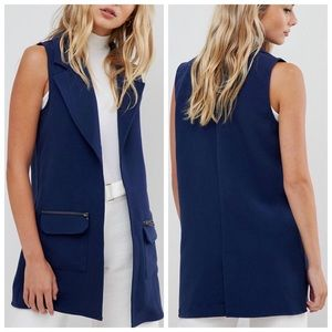 NWT navy longline vest with pocket zipper detail